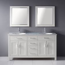 White Double Bathroom Vanities 63 Inch Double Sink Bathroom Vanity With Marble Top In White