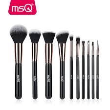 msq 10pcs rose gold balck professional makeup brushes set powder foundation concealer cheek shader make