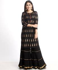 Black Sharara Designs Black Red Love Short Kurti With Gathered Black Sharara