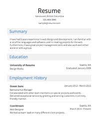 Resume Template Sample Of A Resume Free Career Resume Template