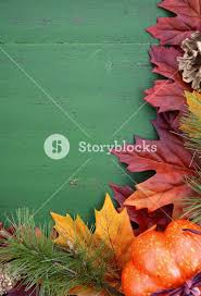 fall leaves decorations autumn fall rustic background on green vintage distressed wood with autumn leaves and