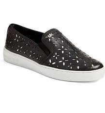 new michael kors keaton black silver perforated leather slipon sneakers 10 for