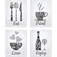 Includes 6 pieces of wall art available as prints (frame not included) or canvas Amazon Com Black Grey White Mosaic Vintage Inspirational Kitchen Restaurant Cafe Bar Wall Art Decorations Eat Drink Love Wine Coffee Hearts Prints Posters Signs Sets For Rustic Farmhouse Country Home Dining Room House
