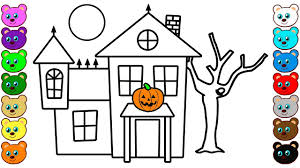 Halloween House Coloring Pages For Toddlers Youtube