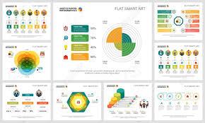 Colorful Smart Art Charts Set For Presentation Slide Templates