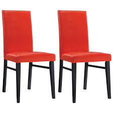 oakley transitional faux leather dining chair  set of   red