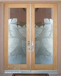 double entry doors glass front doors exterior glass doors banana leaves 3d tropical