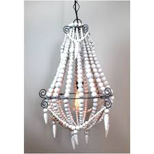 medium white wood beaded chandelier old country french style wooden