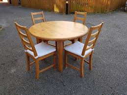 solid pine round dining table 4 ikea high ladder back chairs free delivery 216