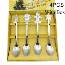 4pcs/set <b>Christmas Stainless Steel</b> Coffee <b>Spoon</b> Ice Cream ...