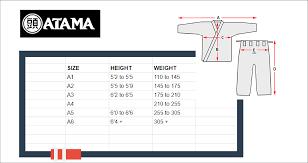 Gi Sportz Pants Size Chart Atama Gi Size Chart Atama Size Chart Bjj Informer