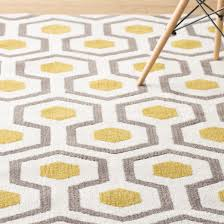 new yellow and white area rug within rugs curtains modern geometric for