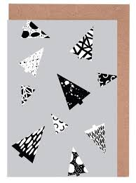 Black And White Greeting Card Christmas Trees Black White As Greeting Card Set Juniqe