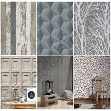 Patterned Wallpaper Unique GREY PATTERNED WALLPAPER AS CREATION FEATURE WALL WOOD PLANKS TREES