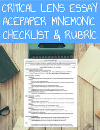 lens essay writing checklist rubric critical lens essay writing checklist rubric