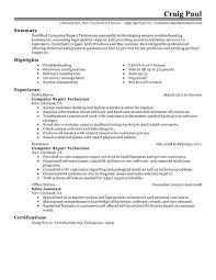 Best Computer Repair Technician Resume Example Livecareer 1st Year