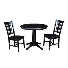 International Concepts Black 36 Inch Straight Pedestal Dining Table
