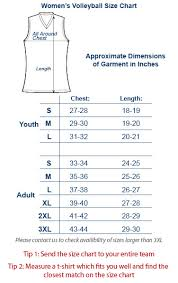 Volleyball Size Chart Svb 1077 Womens Volleyball Jersey