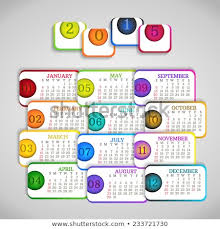 Simple Calendar Template 2015 Original Paper Calendar Template 2015 Rainbow Stock Image
