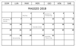 Calendario Maggio 2018 Da Stampare
