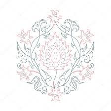 03 花柄ラインアート ピンク ストックベクター Markomania 95757250