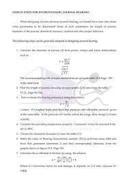 Journal Bearing Design Design Steps For Hydrodynamic Journal Bearing