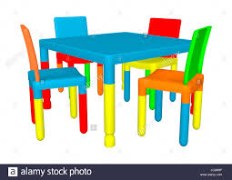 preschool table and chairs. 3d Digital Render Of Colorful Preschool Table And Chairs Isolated On White Background