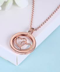 love this 18k rose gold plated double heart pendant necklace