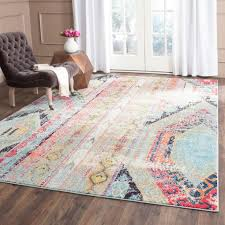 appealing interior home decor ideas with colorful area rugs and black parson chair