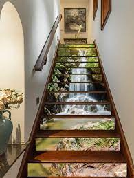 FLFK 3D Waterfalls Self-Adhesive Stairs ...