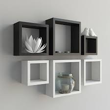 set of 6 square nesting wall shelves