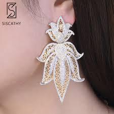<b>SISCATHY</b> Luxury Daffodil Bicolors Cubic Zirconia Drop Earrings ...
