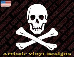 Skull And Cross Bones Pirate Decal Sticker For Wall Car Laptop Etc