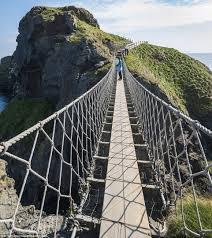Originally the Carrick-a-Rede Rope Bridge in Northern Ireland only had one  handrail