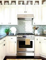 antique white subway tile glazed cabinets blue more traditional rustic style kitchen off backsplash w