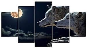 YSDAFEN- 5 Panels HD Printed Night Wolf Animal ... - Amazon.com