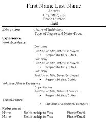Resume Template With Volunteer Experience Simple Resume Template