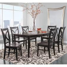 black dining room furniture sets. Cosmopolitan Coal/Black Dining Room 7 Piece Set - Butterfly Leaf Leg Table With 6 Black Furniture Sets N