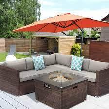 Amazon Com Hompus Outdoor 4 Piece Furniture Sofa W Fire Pit Set 32 Inch 40 000 Btu Tank Outside Square Rattan Fire Table W Glass Wind Guard For Garden Garden Outdoor