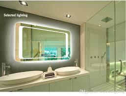 Wall mounted bathroom mirror Mirror Cabinet Frameless Mirrors Highdefinition Intelligent Wall Mounted Bathroom Mirror Defogging Bathroom Lights Led Mirrors Lamps Moreno Bath 2019 Frameless Mirrors High Definition Intelligent Wall Mounted