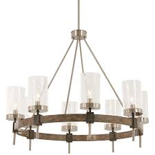 bridlewood stone grey with brushed nickel eight light chandelier