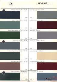 Morris Minor Colours Chart Morris Paint Chart Color Reference