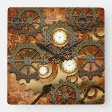 steampunk in golden colors square wall
