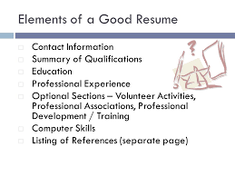 Elements of a Good Resume