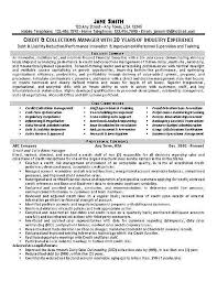 Collections Job Description Roho 4Senses Co Best Collection Resume ...