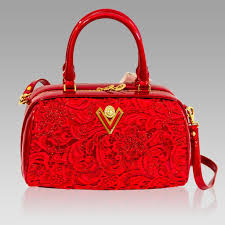 details about valentino orlandi designer red lace embroidered leather barrel top handle bag