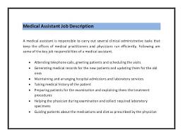 Job Description For Medical Assistant