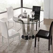 round tempered glass top metal dining table