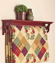 wall mounted quilt rack with shelf wood display storage blanket hanger holder walnut