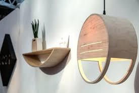 pendant lamp contemporary copper wooden wood veneer
